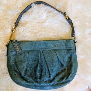 Coach pebbled blue teal leather handbag